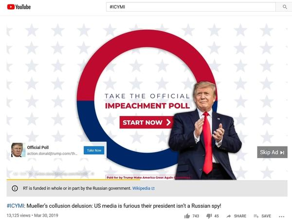 A Trump campaign ad as it appeared on a Russia Today video on October 23.
