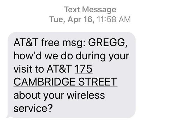 After regaining control of his number, Gregg Bennett says he received this automatic text message from the AT&T store in Boston that he believes was used by the SIM-swappers.
