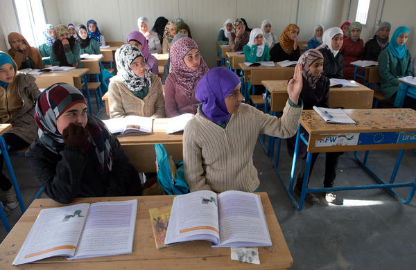 Children attend school in the Syrian refugee camp Zaatari, in the north of Jordan, about an hour's drive from Amman.