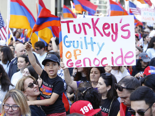 Armenian Americans march in Los Angeles on April 24 during an annual commemoration of the deaths of 1.5 million Armenians under the Ottoman Empire.