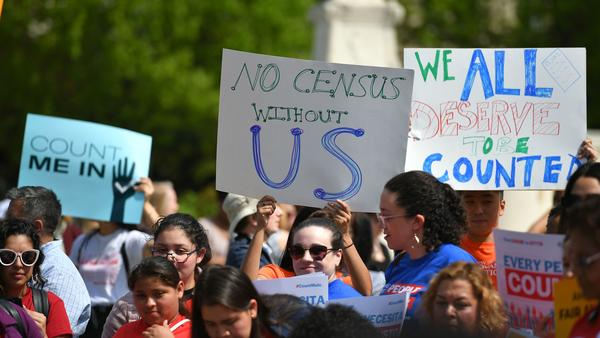 Demonstrators rally in Washington, D.C., in April to protest the Trump administration's efforts to add to 2020 census forms a citizenship question, which has since been blocked by the courts.