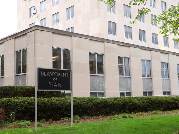 The Department of State building is shown in April 2019 in Washington, D.C.