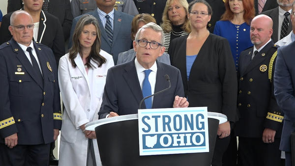 Gov. Mike DeWine unveiled his STRONG Ohio plan in front of law enforcement, mental health professionals and state officials in October.
