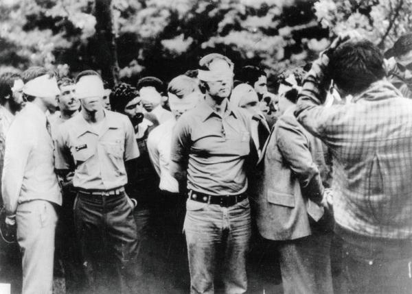 American hostages are paraded by their Iranian captors on the first day of the occupation of the U.S. Embassy in Tehran in 1979.