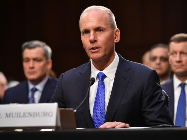 Boeing CEO Dennis Muilenburg testifies before a Senate committee last week on the 737 Max plane crashes. A lawmaker asked him if he was taking a cut in pay, prompting the CEO to give up his bonuses.