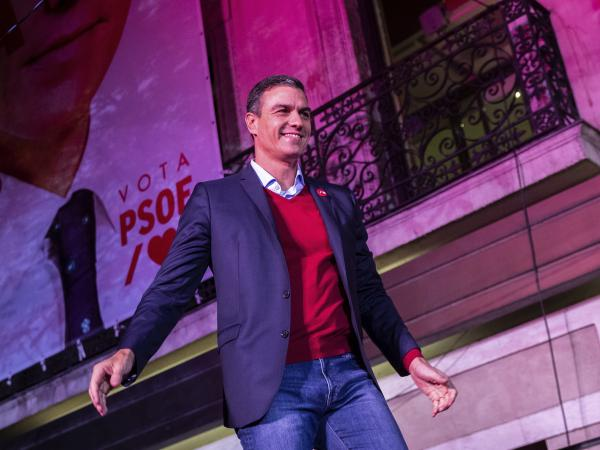 Spain's interim Prime Minister and Socialist Party leader Pedro Sánchez meets supporters, following the general election in Madrid on Sunday. The party won the most seats in Congress, but not a clear majority.