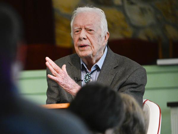Former President Jimmy Carter had surgery Tuesday to relieve pressure on his brain. He's seen here earlier this month, teaching Sunday school at his church in Plains, Ga.