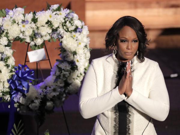 Maya Rockeymoore Cummings speaks during funeral services for the late U.S. Rep. Elijah Cummings last month in Baltimore.