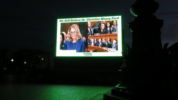 Christine Blasey Ford's testimony played on an 18-minute loop outside an appearance by Supreme Court Justice Brett Kavanaugh on Thursday.