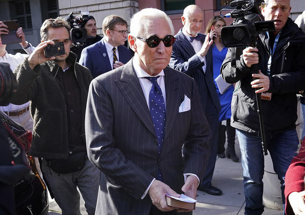Former Trump adviser Roger Stone leaves a Washington, D.C., courthouse Friday after being found guilty of obstructing a congressional investigation into Russia's interference in the 2016 election.