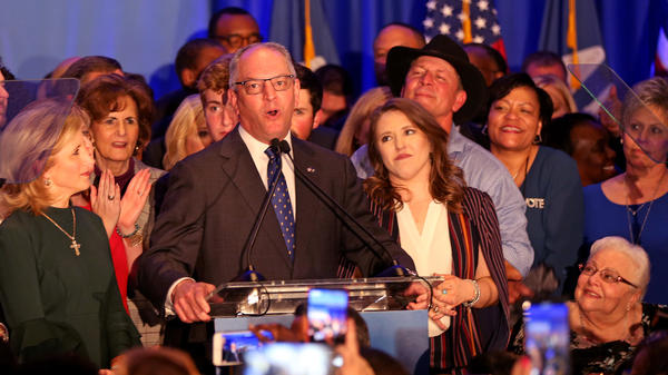 Democratic incumbent Governor John Bel Edwards speaks to a crowd Saturday in Baton Rouge. Edwards defeated Republican challenger Eddie Rispone.