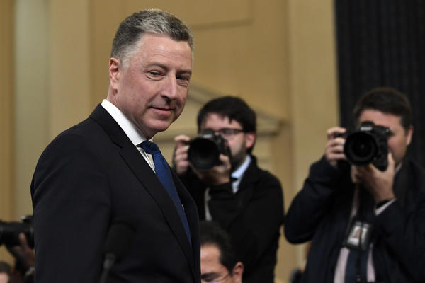 Ambassador Kurt Volker, former special envoy to Ukraine, arrives to testify before the House Intelligence Committee on Capitol Hill on Tuesday.