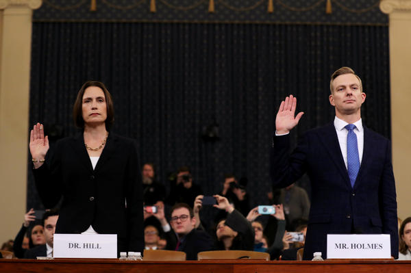 Fiona Hill (left), the National Security Council's former senior director for Europe and Russia, and David Holmes, an official from the American Embassy in Ukraine, are sworn in to testify before the House Intelligence Committee in the Longworth House Office Building on Capitol Hill on Thursday.