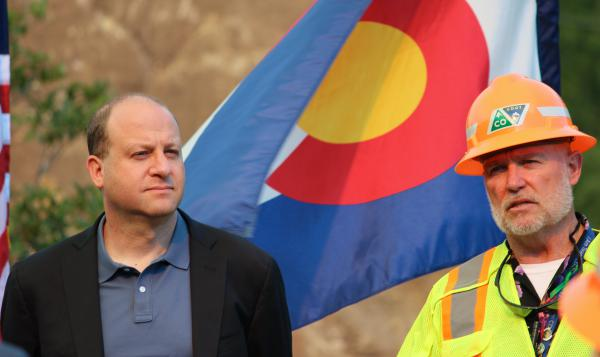 Gov. Jared Polis visited Memorial Rock Tuesday as part of a celebration of the reconstruction of Highway 145.