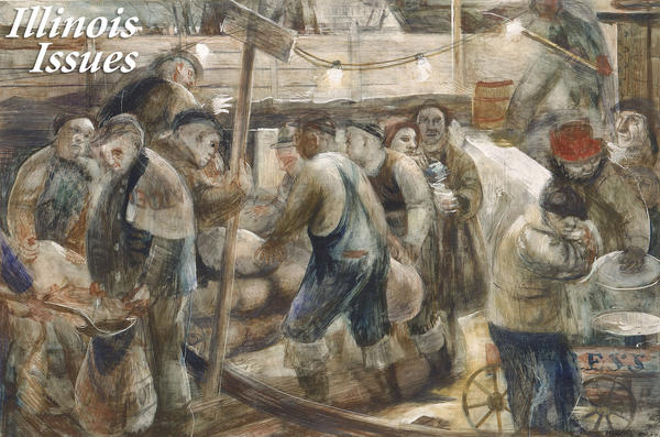 Wendell Jones' 'Sandbagging the Bulkheads' was a study for a post office mural in Cairo, Illinois. It shows citizens from different social classes working together to save the town from flooding, but locals rejected the reminder of an ongoing threat.