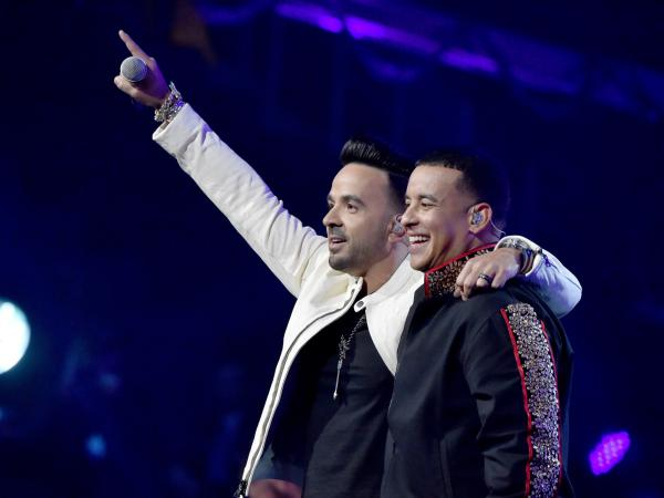 """Luis Fonsi (left) and Daddy Yankee perform """"Despacito"""" during the 60th Annual Grammy Awards in 2018."""