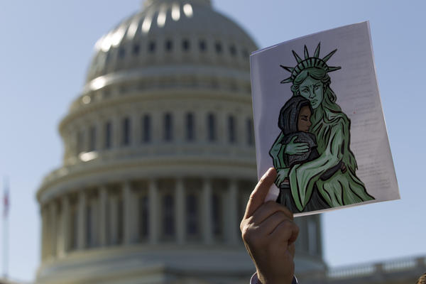 Faith leaders and members of human rights groups protest outside of the U.S. Capitol during a demonstration calling on Congress not to end refugee resettlement programs on Oct. 15, 2019, in Washington. Trump officials announced in September that it would allow localities to opt out of accepting refugees.