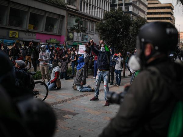 """Anti-government protesters rally on Friday in Bogotá, the second day of their protests against President Iván Duque, who is trying to get a grip on the unrest by announcing a """"national dialogue."""""""