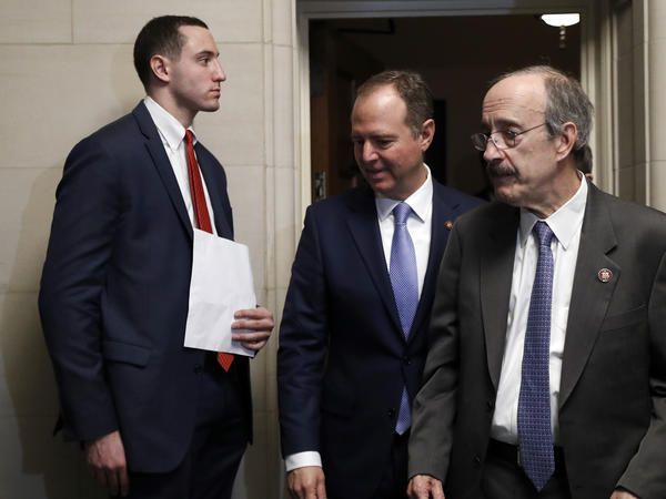 House Intelligence Committee Chairman Adam Schiff, D-Calif., leaves during a break in testimony of the House Intelligence Committee on Capitol Hill in Washington.