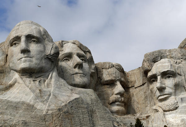 Nearly 400 men and women worked for more than 14 years to carve the images of Presidents George Washington, Thomas Jefferson, Theodore Roosevelt and Abraham Lincoln into Mount Rushmore in Keystone, S.D.