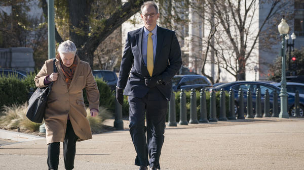 Mark Sandy, a senior career official at the Office of Management and Budget, outside the Capitol before his close-door deposition earlier this month.