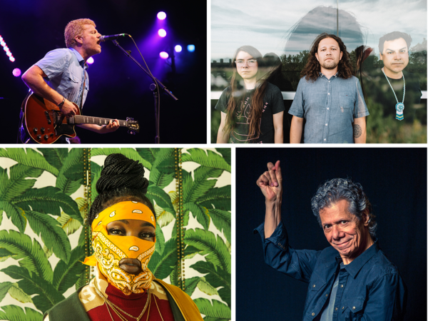 Clockwise from left: A.C. Newman, nêhiyawak, Chick Corea, Leikeli47.