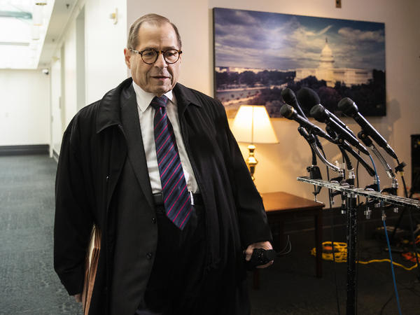 House Judiciary Committee Chairman Jerry Nadler, D-N.Y., leaves at the conclusion of a House Democratic Caucus meeting on Capitol Hill in October.