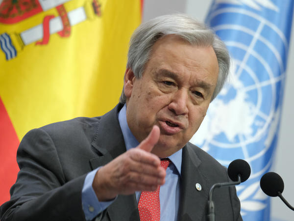 "United Nations Secretary-General António Guterres at the opening day of the COP25 climate conference on Monday in Madrid. ""Do we really want to be remembered as the generation that buried its head in the sand? That fiddled while the planet burned?"" he said."