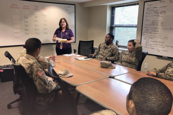 Maureen Sevilla, Chief of the Epidemiology and Disease Control Clinic on Fort Bragg, hosts a game of 'STI Jeopardy' for a small group of soldiers. It's one way health officials are trying to make STI prevention training more relatable for young troops.
