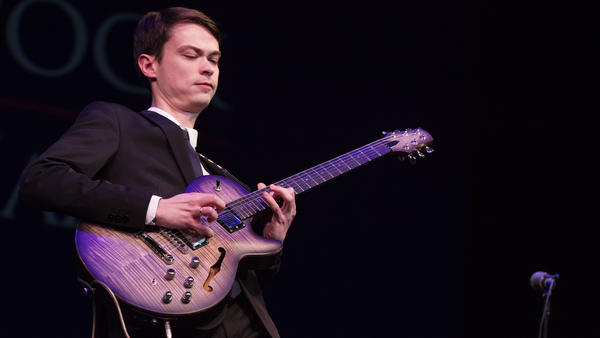 Evgeny Pobozhiy, winner of the Herbie Hancock International Jazz Guitar Competition, performing at the Kennedy Center on Dec. 3, 2019.