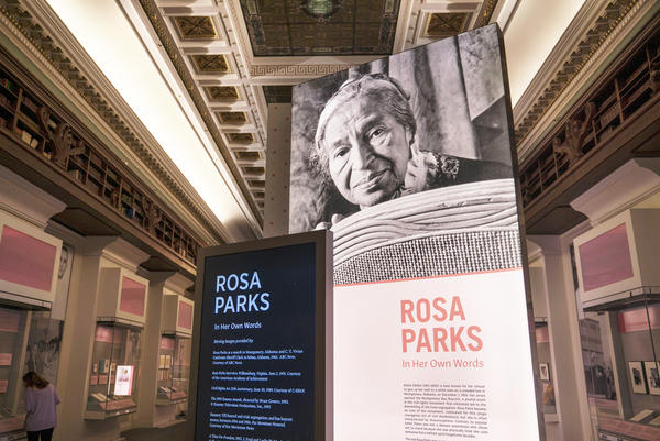 """Rosa Parks: In Her Own Words"" is a collection of the civil rights activist's writings, documents and photos on display at the Library of Congress in Washington, D.C."
