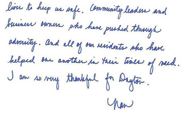 A screenshot of the letter Dayton Mayor Nan Whaley wrote to residents and shared on Twitter this past Thanksgiving.