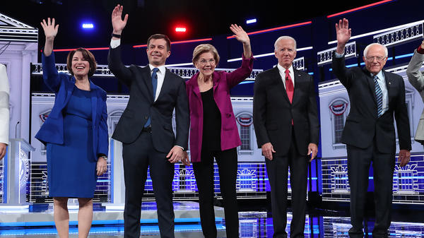 Democratic presidential candidates onstage before the November debate. The Democratic Party faces the prospect of a debate in two weeks with only white candidates onstage.