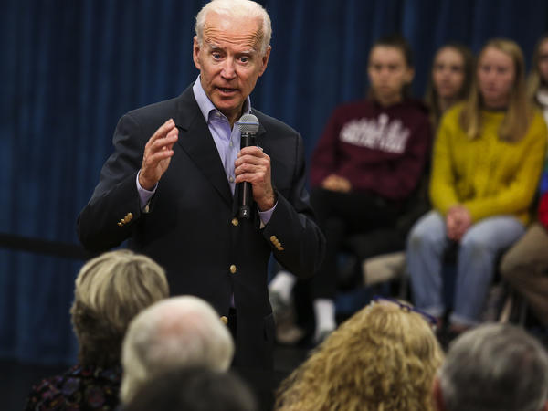 "Former Vice President Joe Biden at a town hall last month in New London, N.H. On Thursday, Biden got into a heated exchange with an Iowa voter, calling the man a ""damn liar."""
