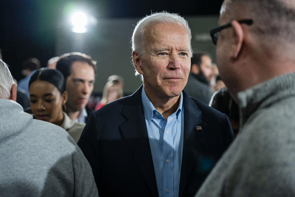Former Vice President and 2020 presidential candidate Joe Biden speaks to voters at Johnson's Reception Hall in Elkader, Iowa.