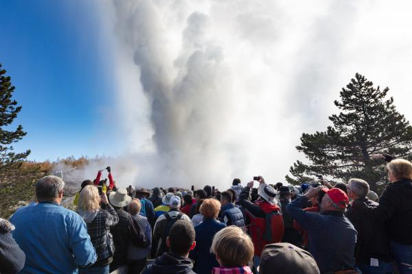 Steamboat Geyser at Yellowstone National Park erupts on Sept. 17, 2018.