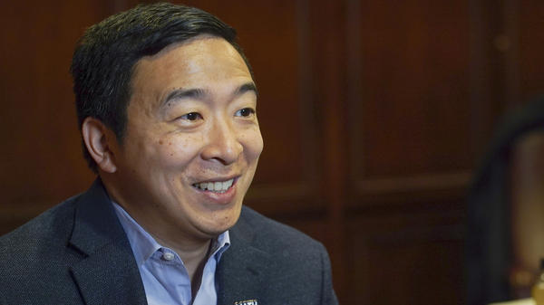 Democratic presidential candidate businessman Andrew Yang speaks during an interview in Chicago. Yang has qualified for the sixth Democratic primary debate next week.