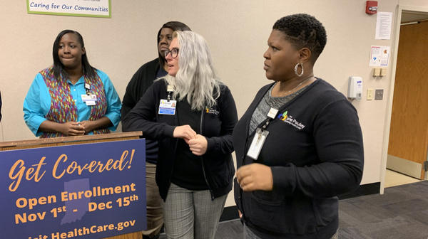 Employees from the Jane Pauley Community Health Center at an open enrollment event.