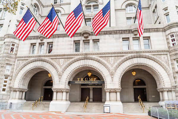 The Trump International Hotel in Washington, D.C., is the focus of one of three pending lawsuits claiming the president is violating the Constitution by not divesting from his business empire.