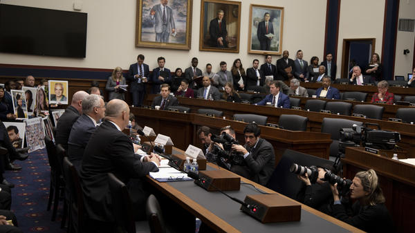 FAA Administrator Stephen Dickson and other officials answer questions about the Boeing 737 Max at a House Transportation Committee hearing on Wednesday.