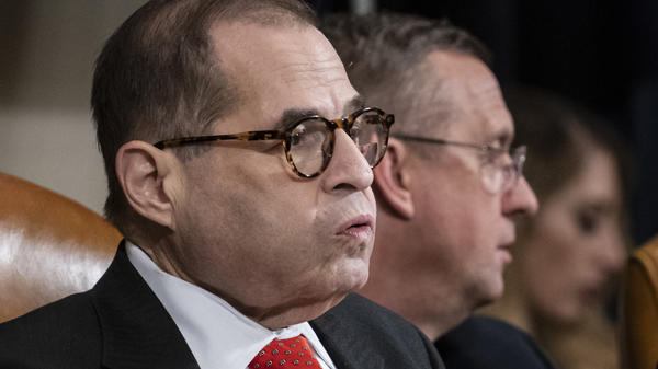 "House Judiciary Committee Chairman Jerry Nadler had adjourned Thursday without a vote on the articles of impeachment. Ranking member Doug Collins (in background) likened the move to a ""kangaroo court."""