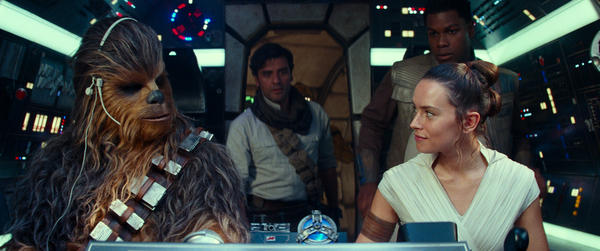 Chewbacca (Joonas Suotamo), Poe (Oscar Isaac), Rey (Daisy Ridley) and Finn (John Boyega) take on the enemy one last time in <em>Star Wars: The Rise of Skywalker</em>.