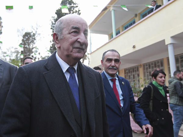 Abdelmadjid Tebboune, who has been elected president of Algeria, cast his ballot outside at a polling station in Algiers on Thursday.