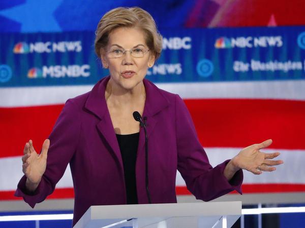 Democratic presidential candidate Elizabeth Warren speaks during last month's presidential primary debate in Atlanta.