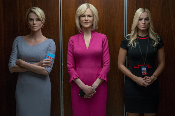 "Charlize Theron (left) as Megyn Kelly, Nicole Kidman (center) as Gretchen Carlson and Margot Robbie as fictional Fox News producer Kayla Pospisil in ""Bombshell."" (Hilary Bronwyn Gayle SMPSP)"