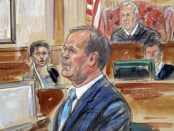 A courtroom sketch depicts Rick Gates testifying in the bank fraud and tax evasion trial of Paul Manafort on Aug. 7, 2018. Gates was Manafort's protege and a leader on the Trump presidential campaign.