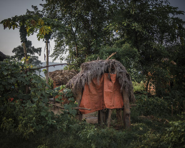 A menstrual shed sits among trees in the village of Narsi in western Nepal.