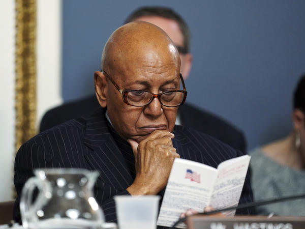 Rep. Alcee Hastings, D-Fla., attends a meeting of the House Committee on Rules to consider the resolution to impeach President Trump on Capitol Hill in Washington on Tuesday.