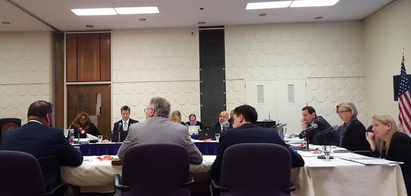 The board discussing an issue during Friday's meeting.