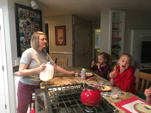 Jenny Lingle and her daughters on an early December morning before school. Lingle, a part-time nurse and Moms Demand Action volunteer, is a fourth generation Idahoan who grew up around guns. But since having kids her perspective has shifted.